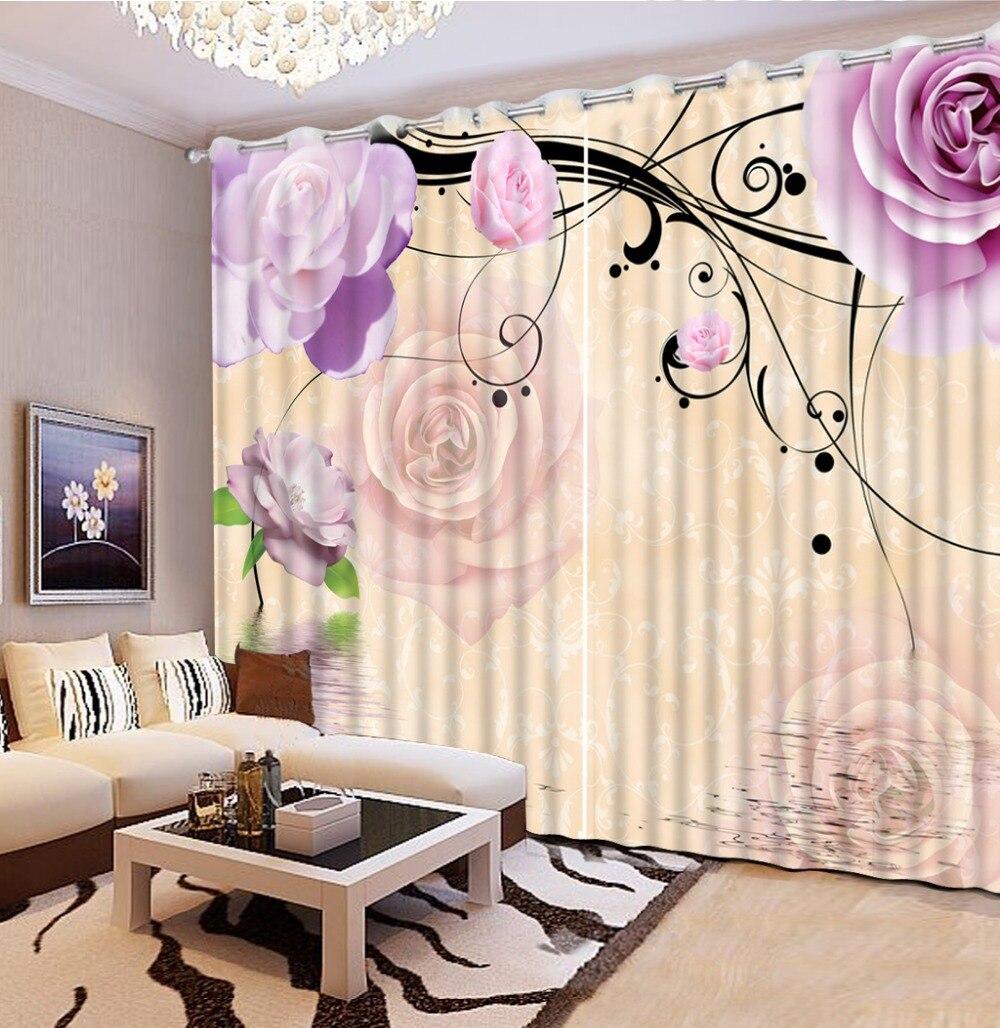 Фото настроить размер фиолетовый цветок розы Винтаж гардины спальни дома украшения