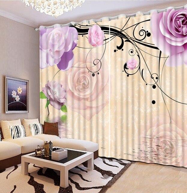 Foto Anpassen Größe Lila Blume Rosen Vintage Fenster Vorhänge Home  Schlafzimmer Dekoration
