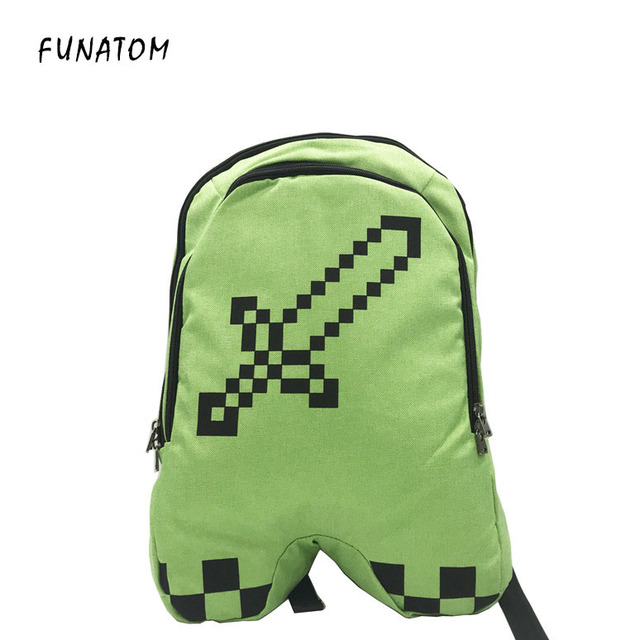 b17d463179 Hot-selling sell minecraft backpack Green children backpack canvas zip  creeper backpacks mochilas school bag bolsas GAME gifts
