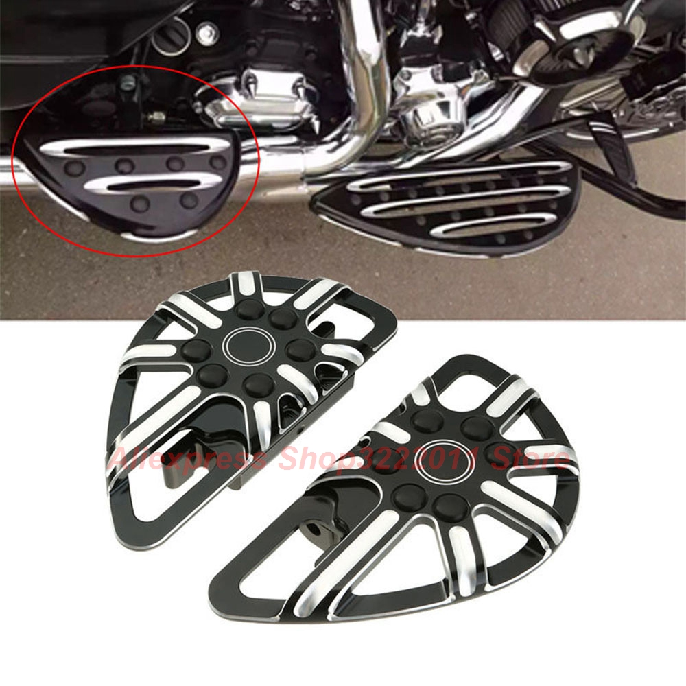 Rear Black CNC Foot Board Passenger Driver Stretched Floorboards For Harley Dyna FLD 2012 2013-2015 motorcycles parts pedal black cast chrome rear black passenger floorboards for harley flh flst fld