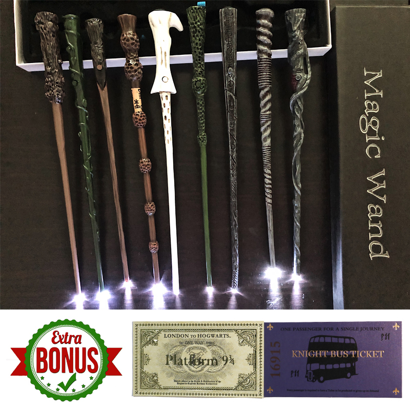 Glow Harry Series LED Magical Wands Dumbledore Ron Hermione Voldemorte Light UP Magic Wands Hogwart Train Ticket