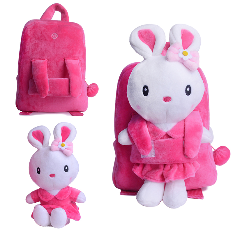 Toys For School : Plush detachable school backpack cartoon rabbit toy