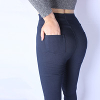High Qulaity Autumn And Spring Style High Waist Women Leggings Plus Size 6XL Pockets Of PU
