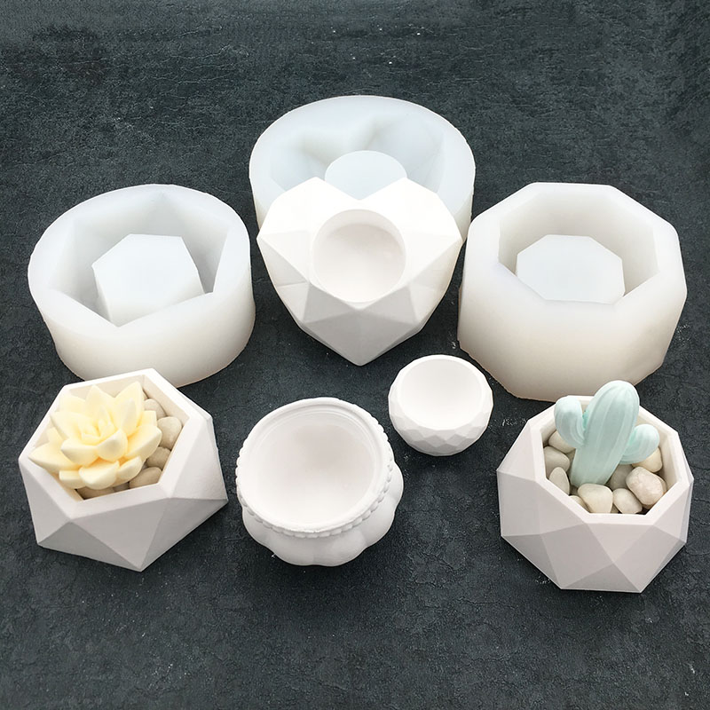 Succulent Plants Vase Silicone Concrete Mold Candlestick Candle Holder Pot Gypsum Plaster Silicone Molds Cement Clay Crafts