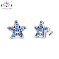 Real 925 Pure Silver Shiny Little Star White Crystal Cubic Zirconia Stud Earrings For Woman Young