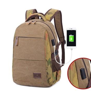 New Canvas Backpack Vintage College Canvas School Backpack With USB Charging Port Laptop Backpack Casual Travel Daypack for Men