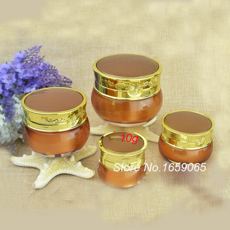 10g ACRYLIC dark gold cream jar with butterfly flower design cream jar Cosmetic Jar Cosm ...