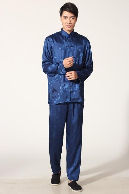 Aliexpress.com : Buy Navy Blue Chinese Men's Satin Silk Kung Fu