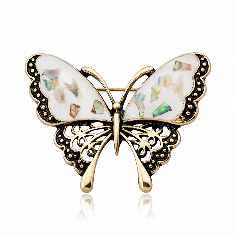 Detail Feedback Questions about New Personality Simple Vintage Shell  Butterfly Brooch Pin for Women Men Fashion Cute Insect Scarf Corsage Jewelry  ... 2e245937ce69