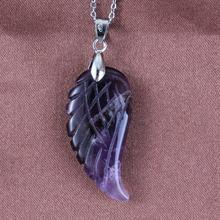 Kraft-beads New Stylish Silver Plated Vintage Natural Purple Quartz Amethysts Pendant Freedom Wing of Angel Stone Jewelry