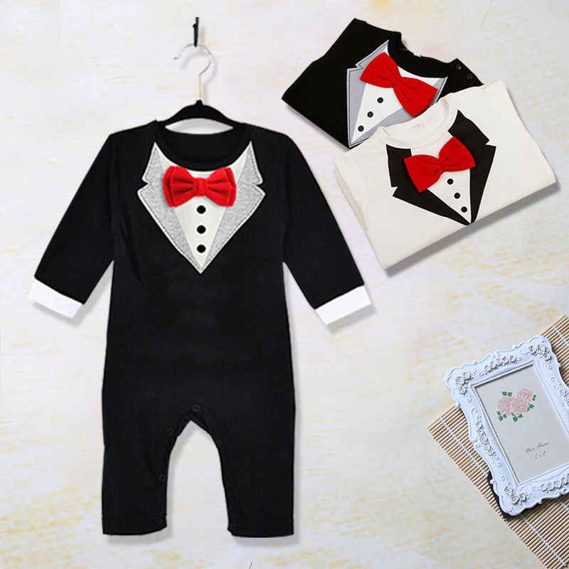 aeb1155911bf 1Pcs Kids Baby Boys Clothes Toddler Bow Tie Gentleman Long Sleeves Romper  Jumpsuit Clothes Outfit