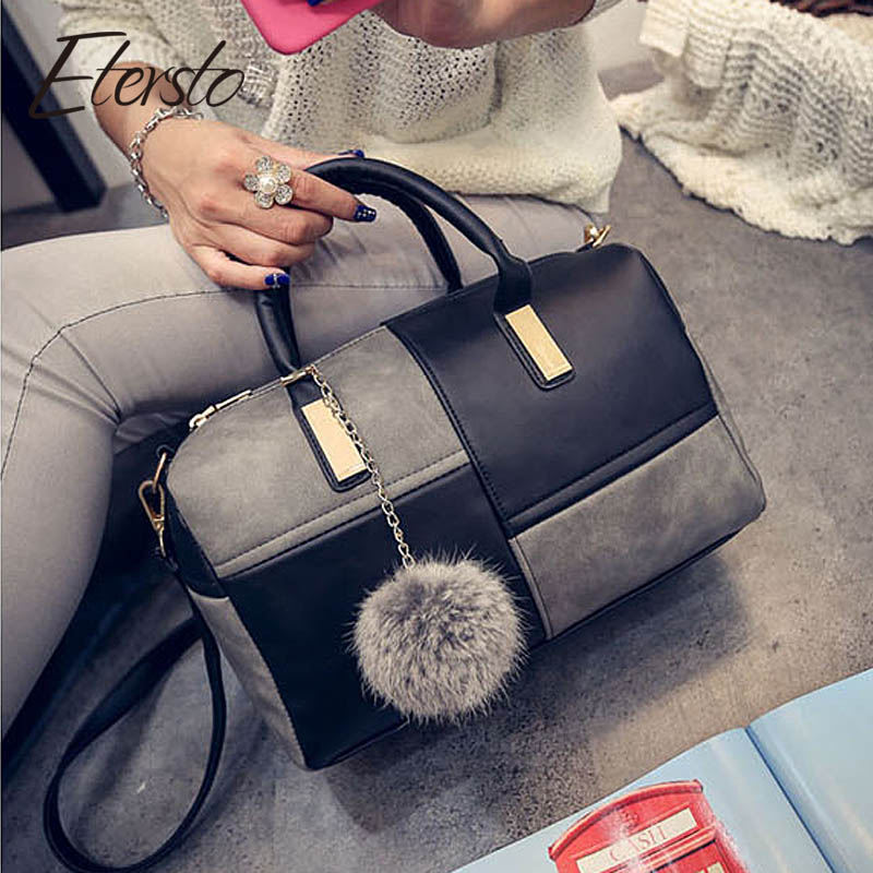 Etersto2018 new casual fashion stitching hit color <font><b>handbags</b></font> new fashion <font><b>handbags</b></font> <font><b>Parker</b></font> women's party wallets Ms. Messenger bag