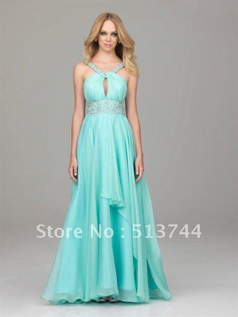 Beaded Halter Top Floor Length Bridesmaid Dresses ball dress long-in ...