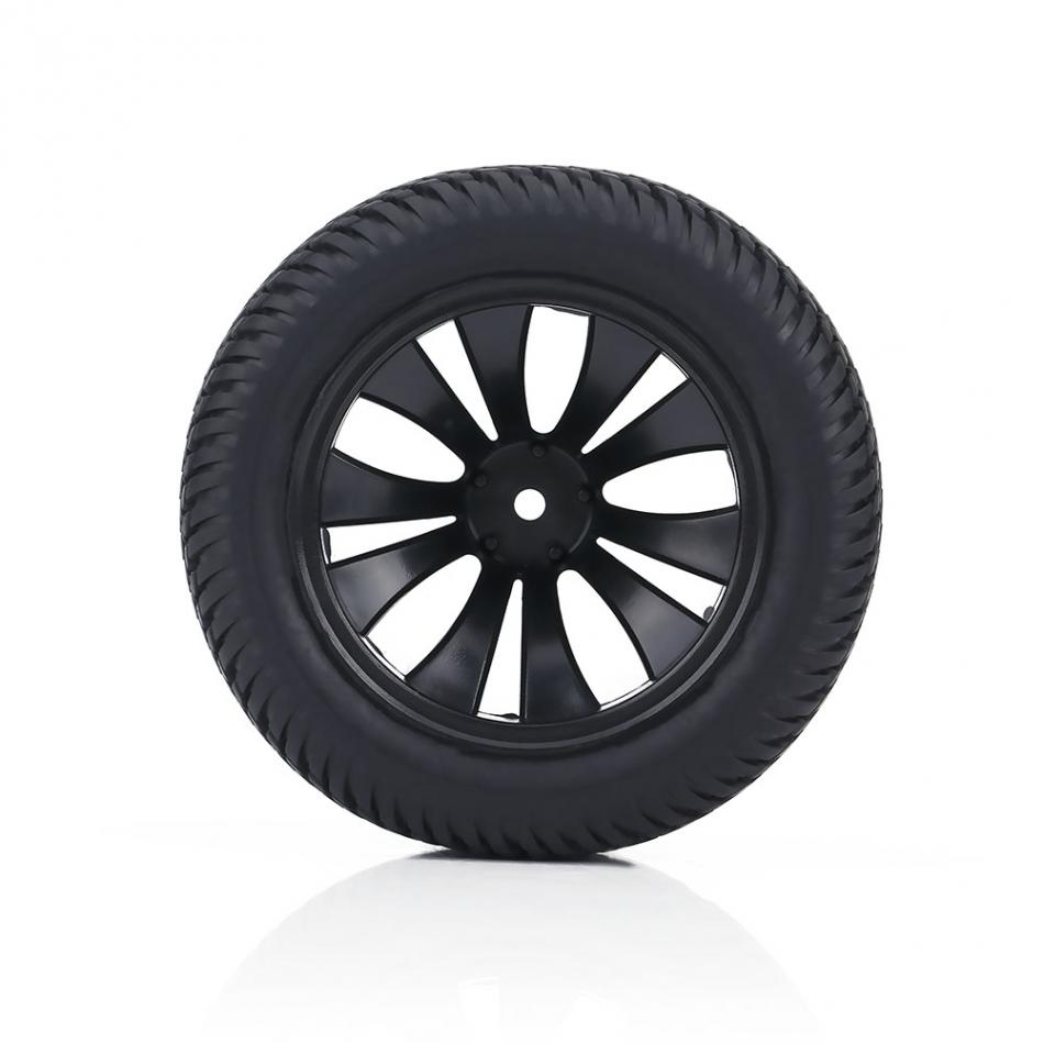 2pcs/set RC Racing Car Rubber On Road Tyre Tires & Plastic Hubs Wheel Rim Fit for RC 1:12 Car Truck 90mm Black Tires with Hubs wholesale 2pcs lot for robot 1 10 rc car rc rubber tires tyre