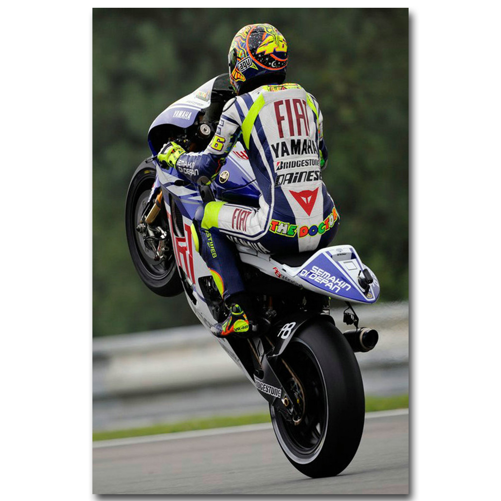 Valentino Rossi NO 46 MotoGP Rider Art Silk Fabric Poster Print 13x20 Motorcycle Racing Sport ...