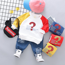 Autumn Baby Boys Two-piece Set Casual Contrast color Long Sleeve TShirt+letter printing jeans Set Boys Clothes Children Clothes contrast binding letter print sheet set