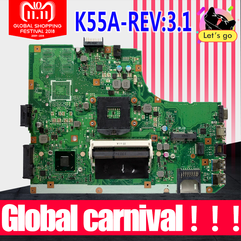 K55VD Motherboard REV3.1 RAM For ASUS K55A K55VD laptop Motherboard K55VD Mainboard K55A Motherboard K55VD mainboard test OK k55a motherboard rev 3 0 3 1 hm76 for asus a55v k55v k55vd laptop motherboard k55a mainboard k55a motherboard test 100% ok