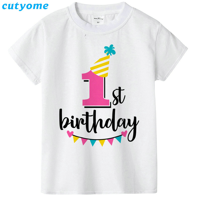 Summer Baby T Shirt Tops Children's Clothing Happy Birthday Girls Boys Short Sleeve Kids Clothes Tee Girls Boys' T-shirts Casual (34)