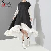 2018 Korean Women Autumn Black Asymmetrical Dress Patchwork Design Long Sleeve Female Big Size Casual Wear Dress Robe Femme 3836