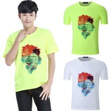 Summer Print Pattern Round Collar Short Sleeve T-Shirt Cotton Moisture Wicking Outdoor sports Sleeves