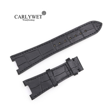 CARLYWET 25mm Black Real Leather Handmade Replacement Crocodile Grain Wrist Watch Band Strap