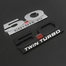 Metal Side Badge Emblem Letter Sticker For Ford Mustang Gt   Coyote V Twin Turbo