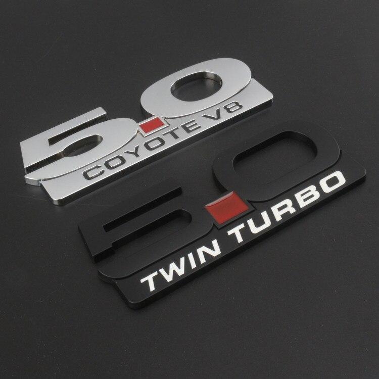 5.0L MOTORSPORT Handle Decal Sticker Logo Emblem Ford Mustang Coyote V8 White