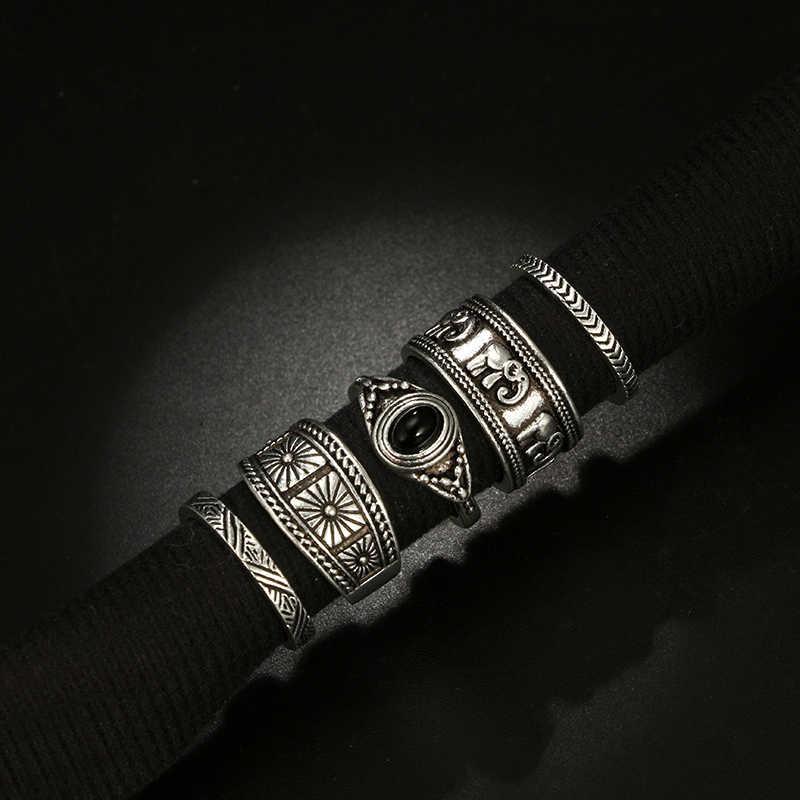 Docona Boho Silver สีช้างดอกไม้ MIDI ชุดแหวนสำหรับสตรี VINTAGE Rhinestone สีดำแหวน 5 pcs/ 1 ชุด 6222