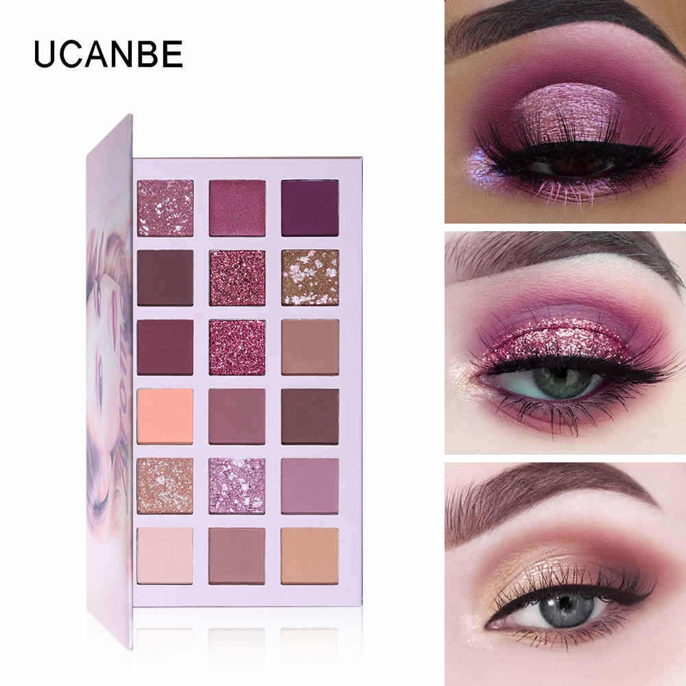 591c65cd55ad UCANBE 18 Colors NUDE Eyeshadow Palette Glitter Shimmer Matte Pigmented  Powder Makeup Smooth Natural Burgundy Eye Shadow Kit