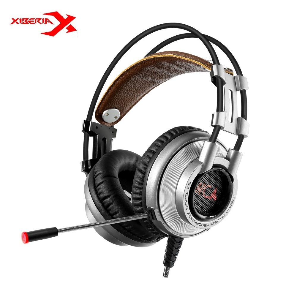 XIBERIA K9 USB Gaming Headset Headphones 7.1 Vibration Deep Bass LED Light Headsets With Microphone For PC Gamer Retail Package xiberia s21 usb gaming headphones over ear noise canceling led stereo deep bass game headsets with microphone for pc gamer