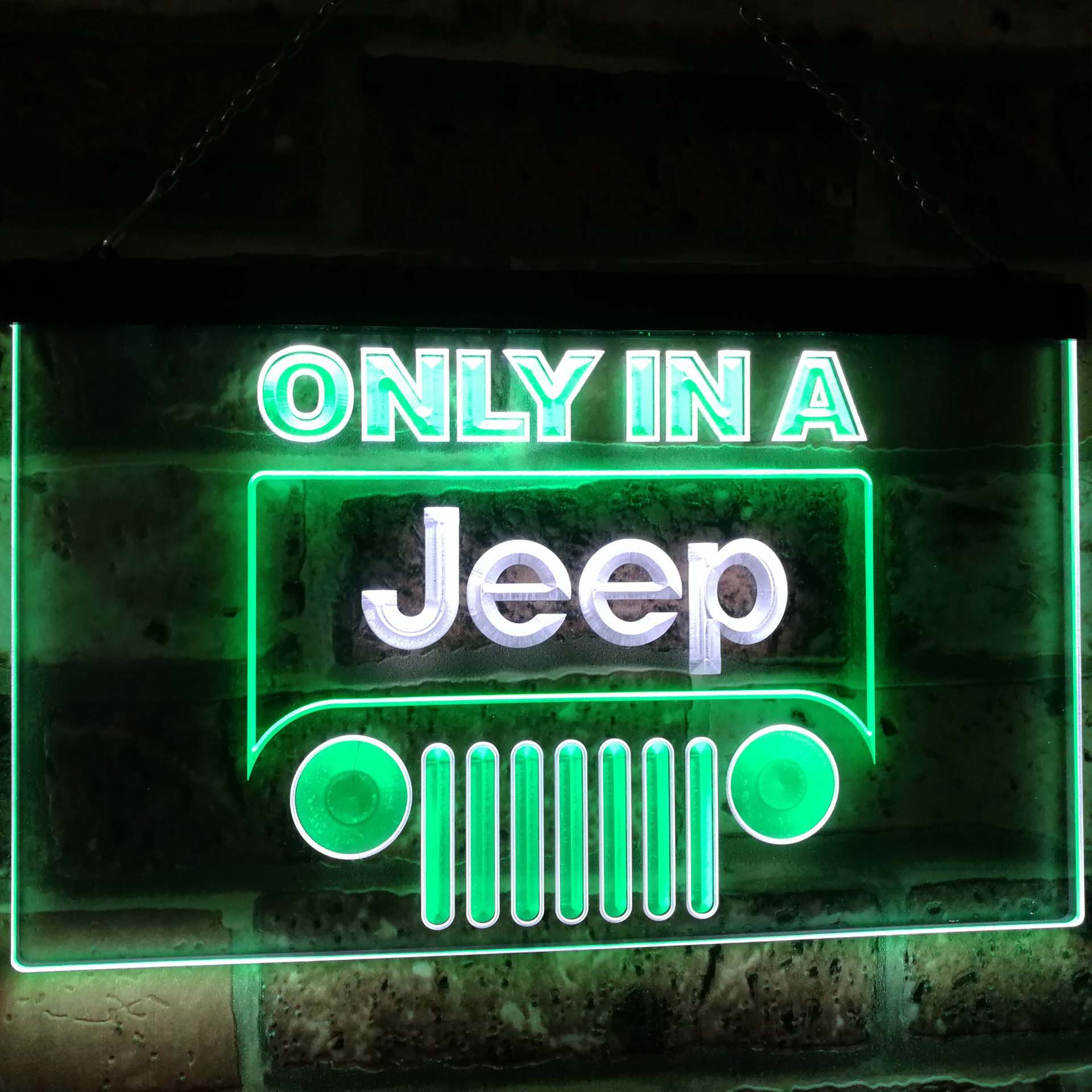 Only in a Jeep Car Bar Decoration Gift Dual Color Led Neon Light Signs st6 d0134