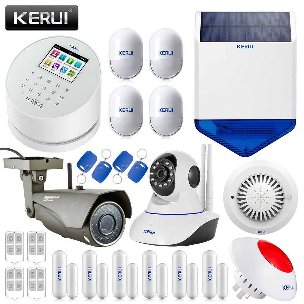 KERUI Wireless IOS Andorid APP Wifi GSM PSTN Home Security Home Alarm System With IP Camera Smoke Detector kerui w2 wifi gsm home burglar security alarm system ios android app control used with ip camera pir detector door sensor