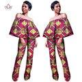 BRW Mulheres Roupas Bazin Riche África Rompers Womens Jumpsuit Fora Do Ombro Calças Compridas para As Mulheres de Cintura Alta Bodysuit WY1023