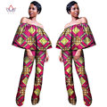 BRW Women Clothing Africa Rompers Womens Jumpsuit Bazin Riche Out Off Shoulder Long Pants for Women High Waist Bodysuit WY1023