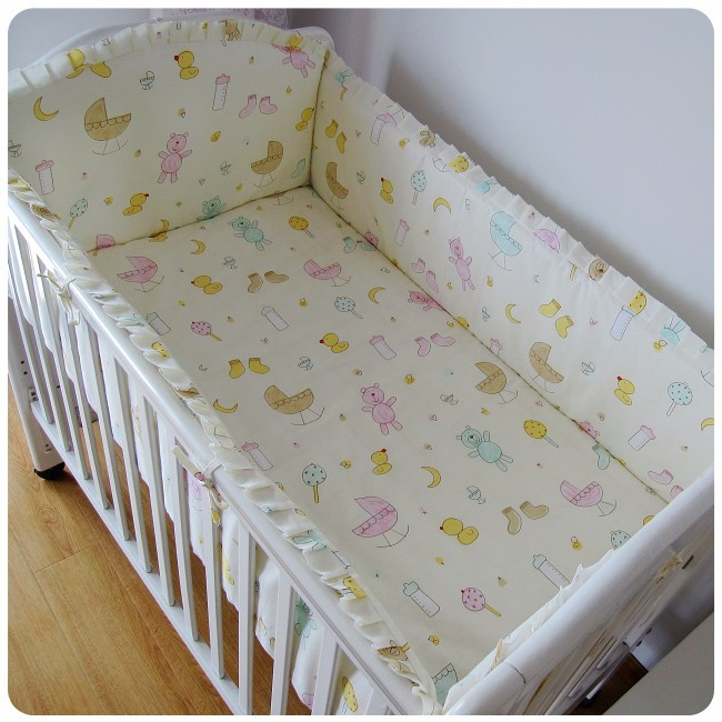 Promotion! 6PCS Baby bedding set animal crib bedding set 100% cotton baby bedclothes (bumper+sheet+pillow cover)