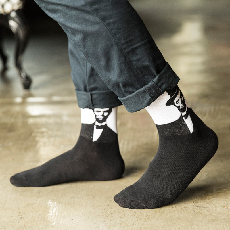 New Men Cotton Crew Socks Street Funny Gentleman Creative Personality Casual Spring Winter Autumn Unisex Funny Warm Socks