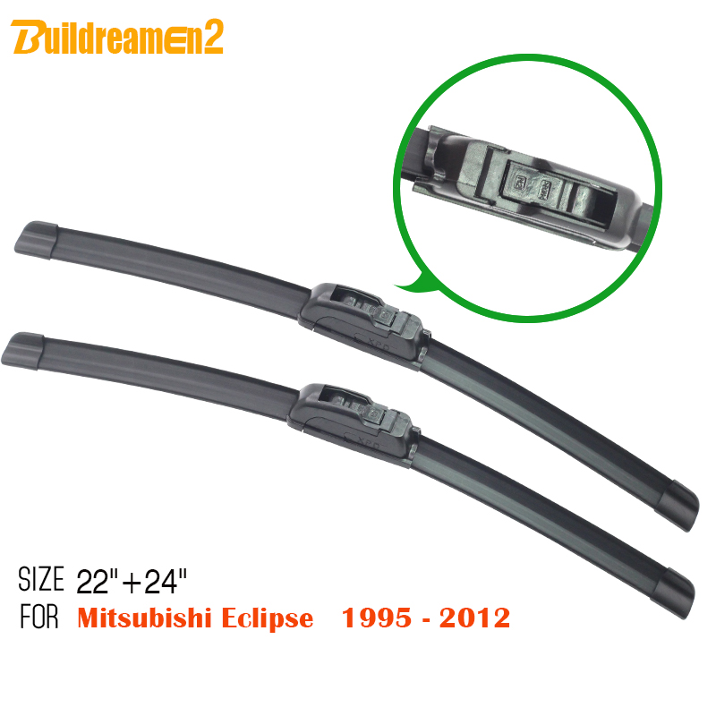 Buildreamen2 Car Frameless Windscreen Windshield 2Pcs For Mitsubishi Eclipse 1995-2012 Automotive Rubber Soft Wiper Blades