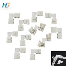 10 sztuk 20 sztuk 30 sztuk Solderless L kształt 90 stopni rogu 10mm PCB 4pin RGB LED złącza z klipsami do taśmy LED DC12V 5050