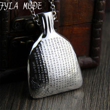 FYLA MODE S999 Sterling Silver Chinese Style Ms. disk If Paramita Heart Sutra Pendant Unisex Wallet Shape 45*60MM  25.80G XJF088