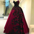 Borgoña Apliques de Noche Vestidos de Baile 2017 de la Nueva Llegada de Lujo Negro de La Vendimia de Compromiso Árabe Vestidos De Fiesta Aramex