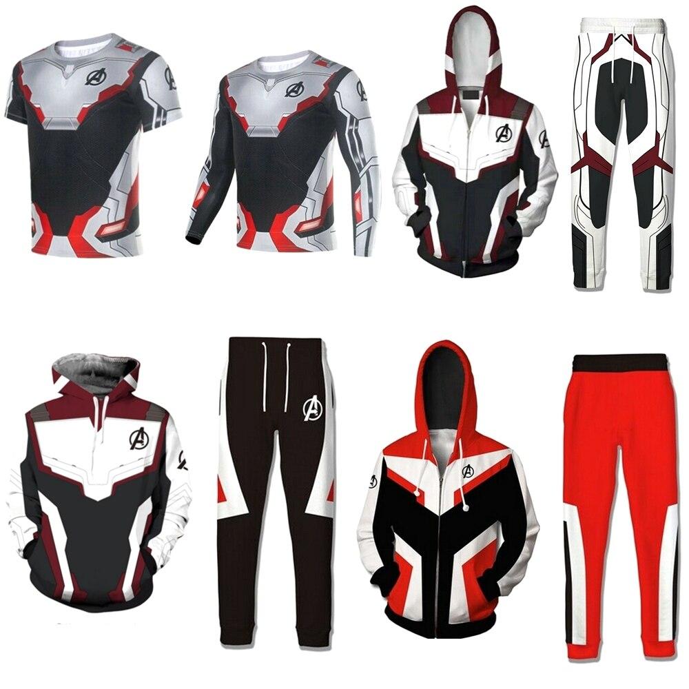 Avengers 4 Endgame Hoodies Advanced Tech 3D print T-shirt Hoodies Men's Zipper Sweatshirts Pants Casual Jacket Cosplay Costume