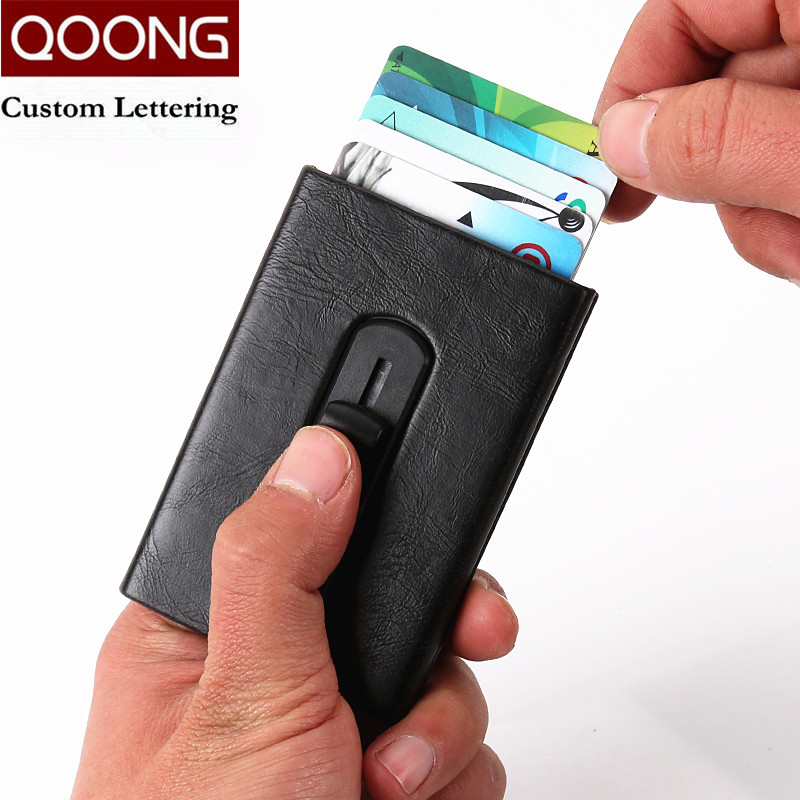 QOONG Automatic Pop Up ID Credit Card Holder with Metal Clip Push Men Women Business Card Case Travel Card Wallet Box KH1-027 xzxbbag metal magic pop up business id credit card holder unisex bank card case men women business name card box with metal clip
