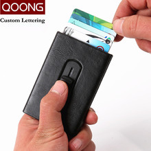 QOONG Automatic Pop Up ID Credit Card Holder with Metal Clip Push Men Women Business Case Travel Wallet Box KH1-027