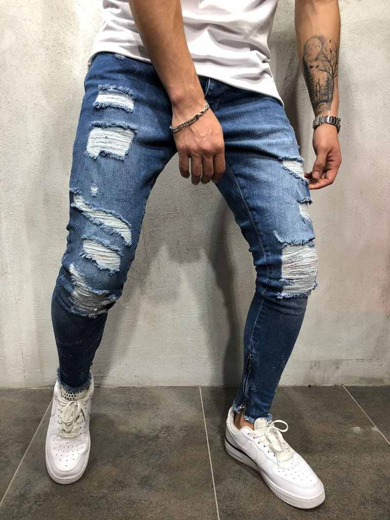 e4992fa2 ... Streetwear Men hip hop Side white strip skinny jeans Distressed Knee  Holes Ripped high quality Stretch ...