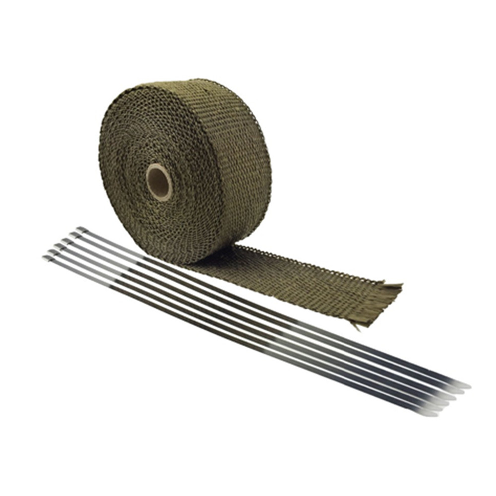 Fit for car Motorcycle 15M Titanium Exhaust Heat Pipe Insulation Wrap With 6 Stainless Ties high quality