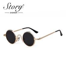 efc69d7fd4 STORY STEAMPUNK Sunglasses round Designer steam punk Metal Oculos de sol  women Coating Sunglasses Men Retro
