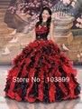 Doce ainda fresco vestido de baile querida bordado com cristais Organza Ruffles vestidos Quinceanera vermelho e preto