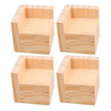 """4 יחידות 7.5x7.5x7.3 ס""""מ L בצורת חצי סגור מעלית עץ מיטת שולחן Riser מרים שולחן ריהוט רגליים מעלית אחסון"""