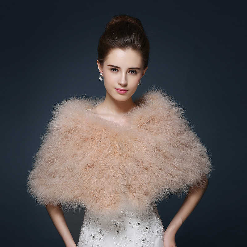 6d64d011c1c Ostrich Feather Bridal Wraps Shawl Faux Fur Marriage Shrug Coat Bride  Winter Wedding Party Boleros Jacket