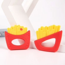 1PC Funny Potato Chips Baby Teether Food Grade French Fries BPA free Silicone Teething Beads Rattles Nursing Tools